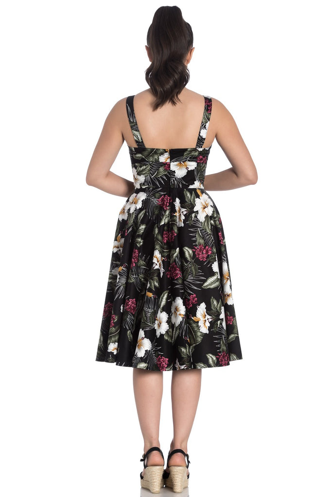 Tahiti Tropical Floral Dress in Black