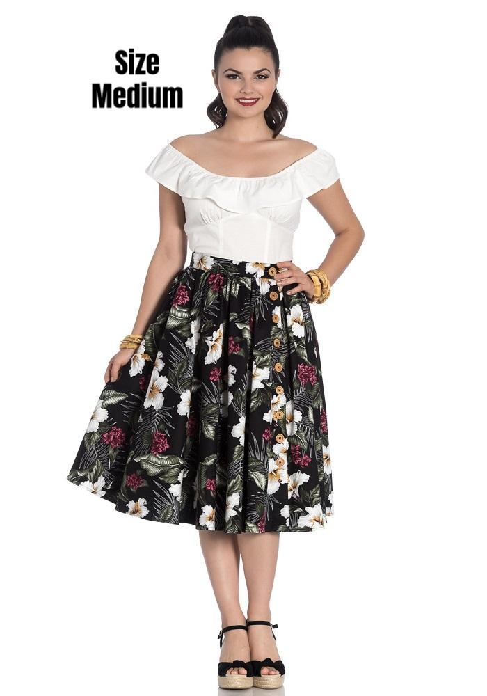 Tahiti Tropical Floral Circle Skirt in Black