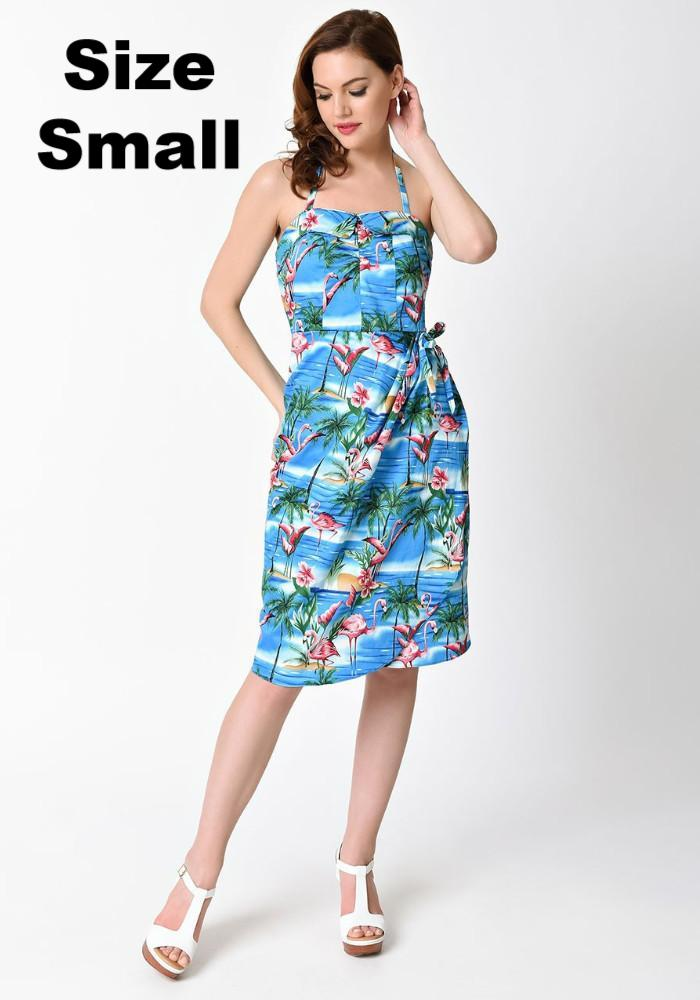 1950s Blue Flamingo Palms Sarong Wiggle Dress