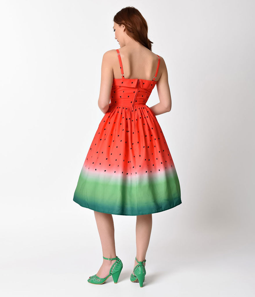 1950s Style Watermelon Ombre Chateau Swing Dress