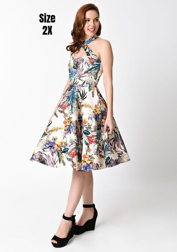 1950s Style Tropical Flourish Rita Halter Flare Dress