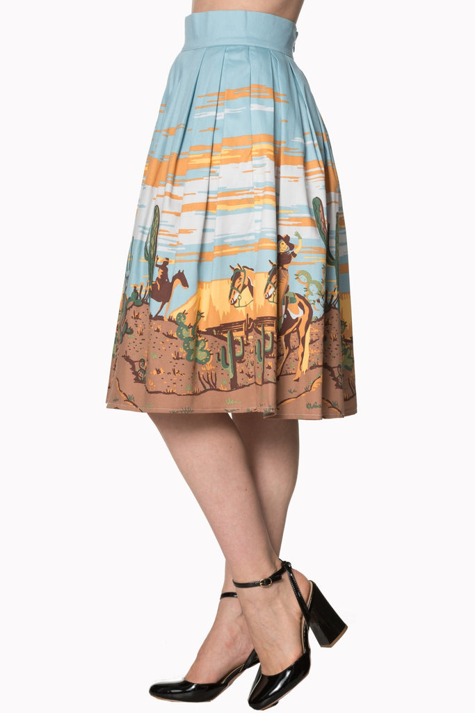Magical Day Western Border Print Skirt