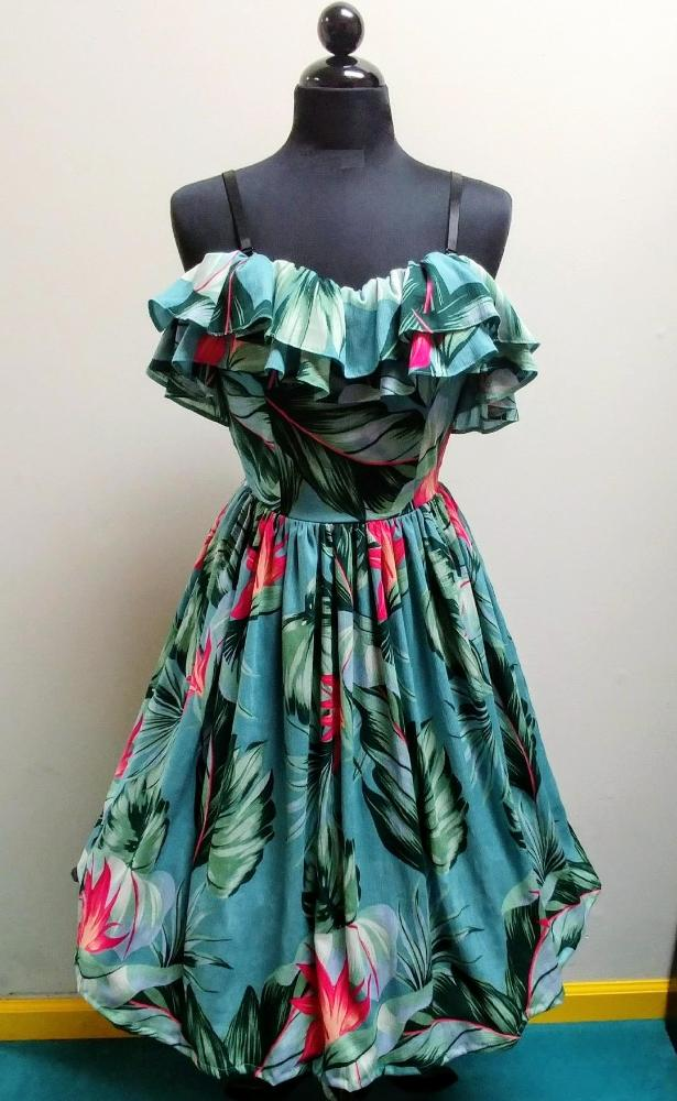 """Final Sale"" Tropical Birds of Paradise Cha Cha Ruffle Dress"