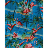 Adalene Blue Beach Flamingo Print Swing Skirt