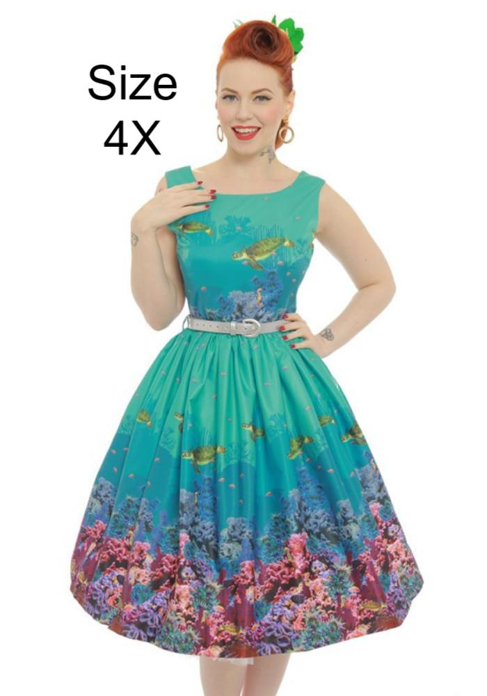 Annie Turquoise Coral Reef Print Swing Dress