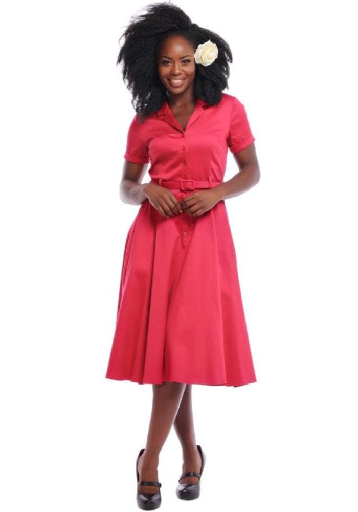 Caterina Swing Dress in Solid Red