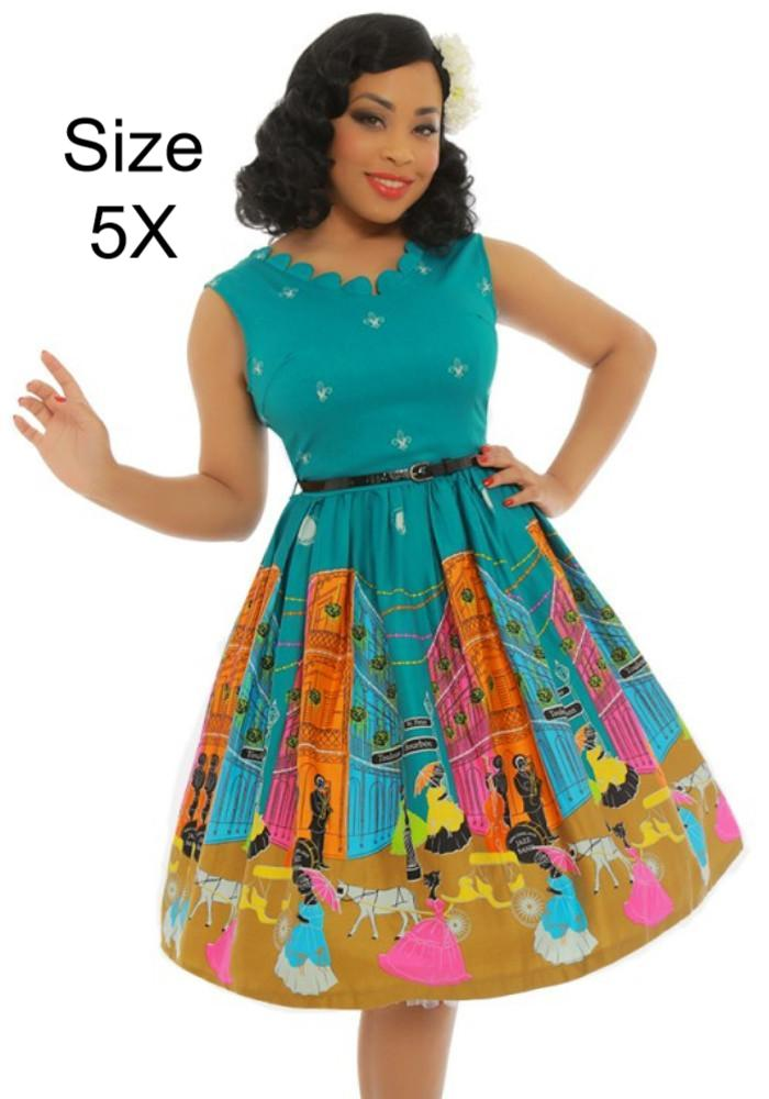 Daria New Orleans Print Swing Dress in Green