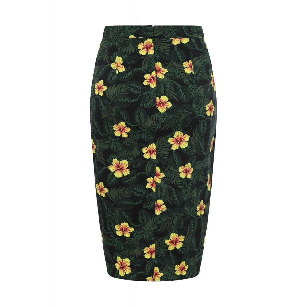"""Final Sale"" Kala Tropical Hibiscus Sarong Skirt (Broken Zipper)"