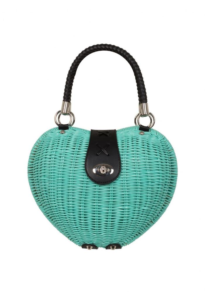 Wicker Heart Handbag, in Mint Green