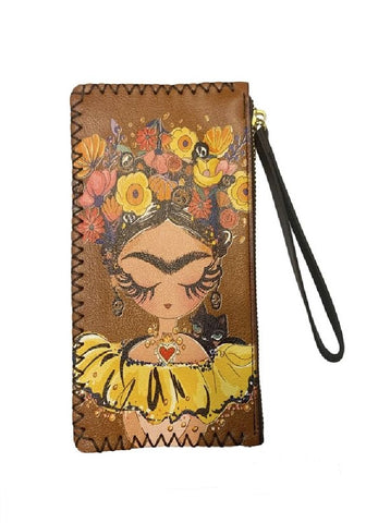 Cottage Core Floral Spider Faux Leather Wristlet Wallet