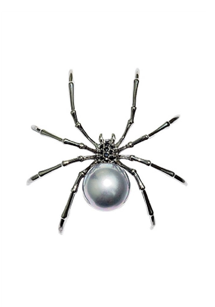 Large Faux Pearl Spider Brooch