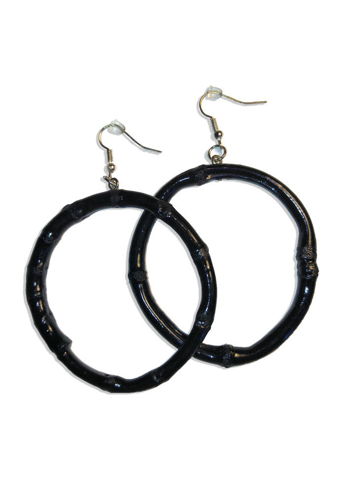 Black Round Bamboo Hoop Earrings