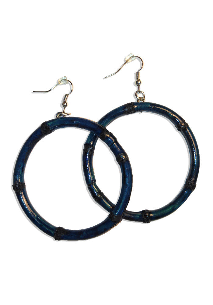 Blue Round Bamboo Tiki Hoop Earrings