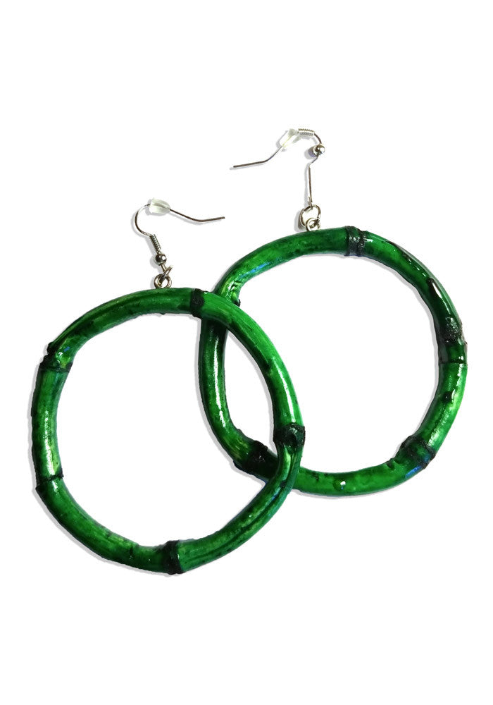 Green Round Bamboo Hoop Earrings
