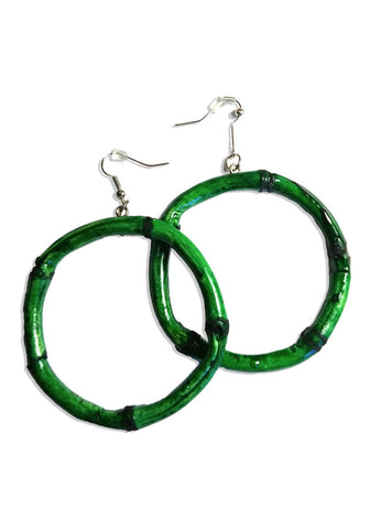 Natural Square Bamboo Tiki Hoop Earrings