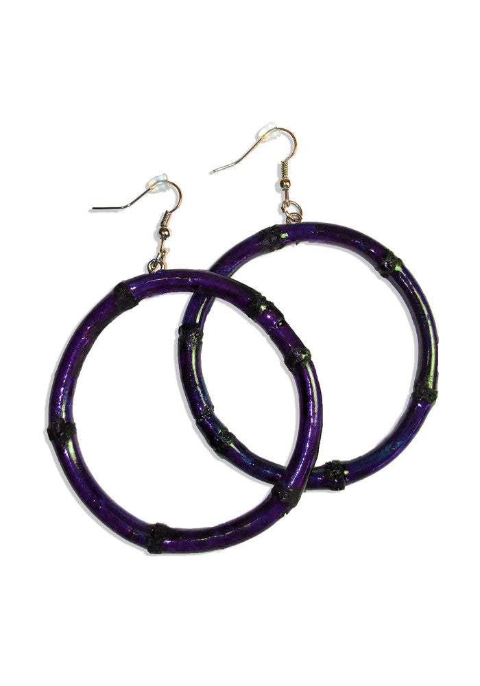 Purple Round Bamboo Hoop Earrings