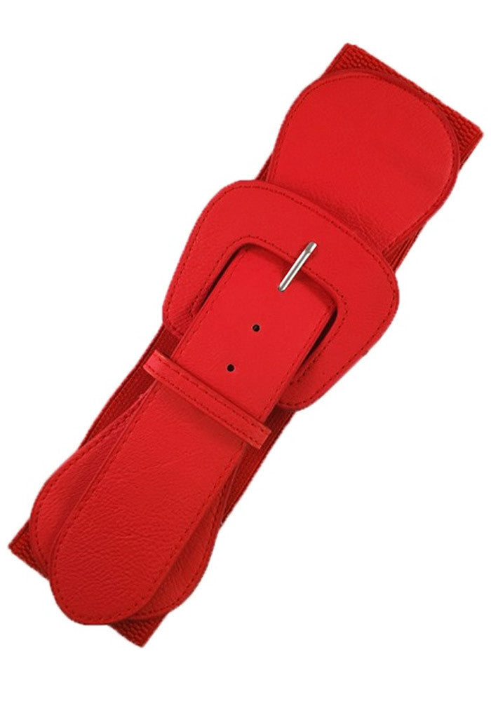 Faux Leather Elastic Cinch Belt, Red