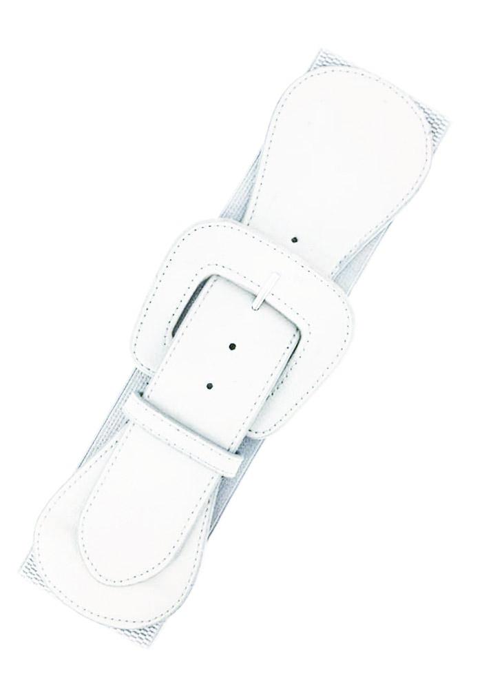Faux Leather Elastic Cinch Belt, White