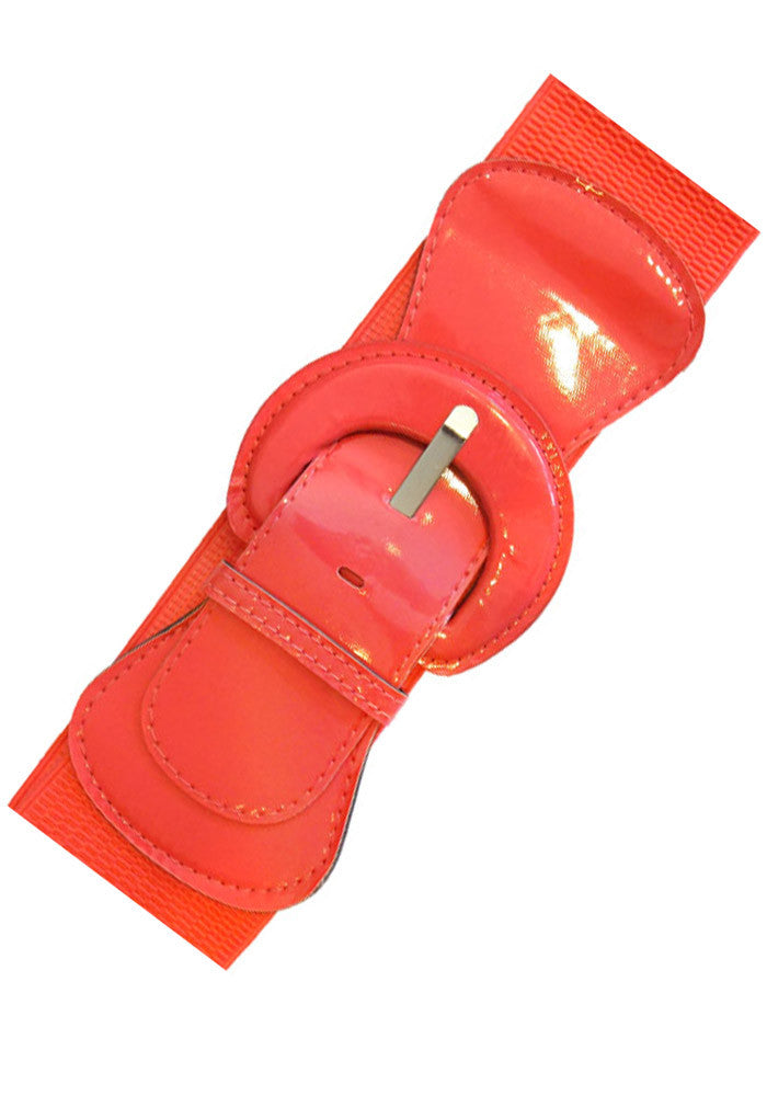 Patent Elastic Cinch Belt, Coral