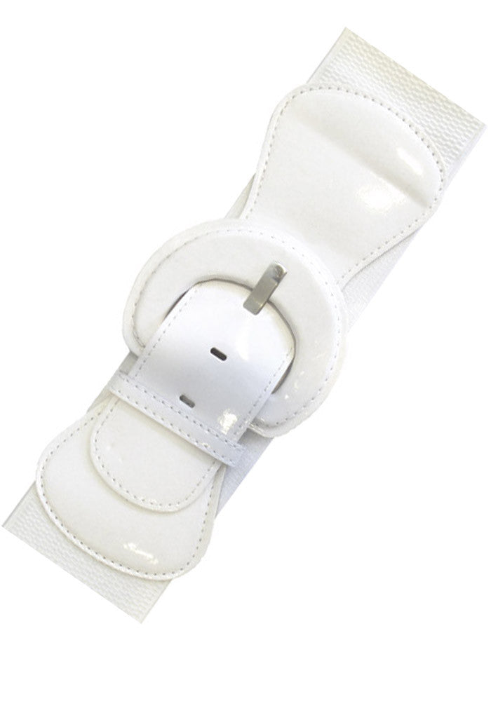 Patent Elastic Cinch Belt, White