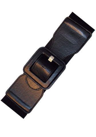 Square Elastic Cinch Belt, Red Faux Leather