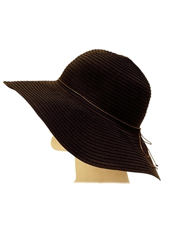 Classic Ribbon Crusher Sun Hat in Black