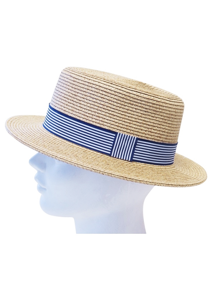 """Final Sale"" Nautical Straw Boater Hat"