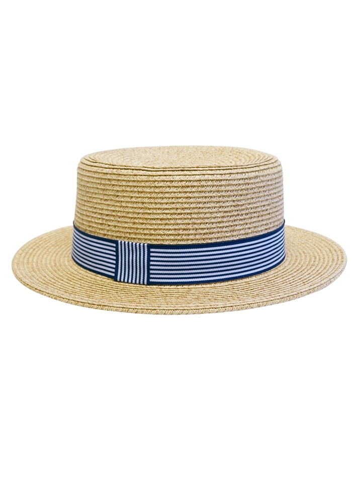 Nautical Straw Boater Hat