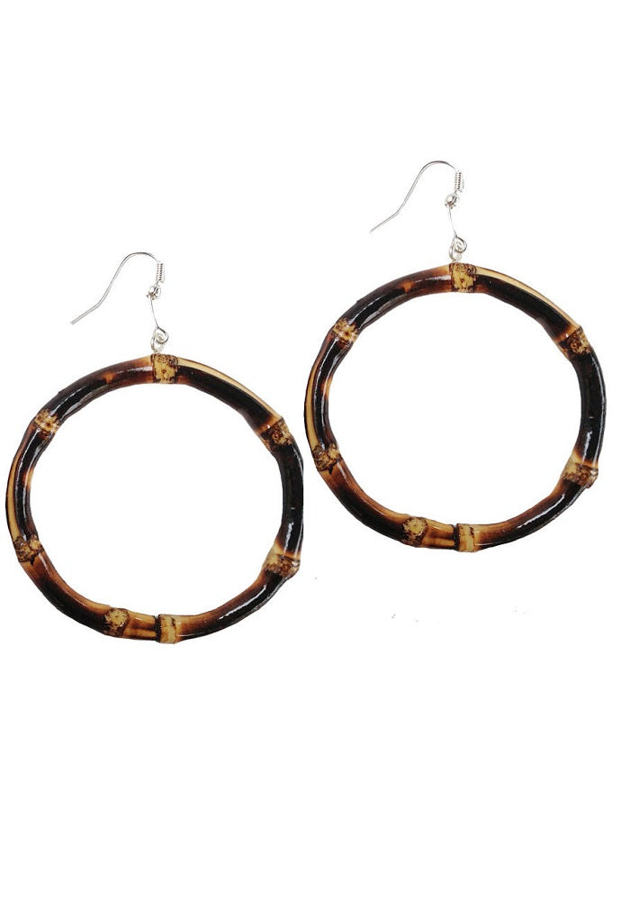 Burnt Round Bamboo Hoop Earrings