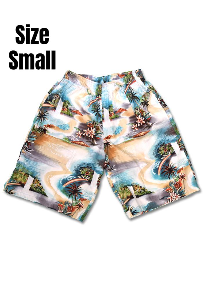 """Final Sale"" Tropical Waterfalls Cabana Shorts, Teal & Tan"
