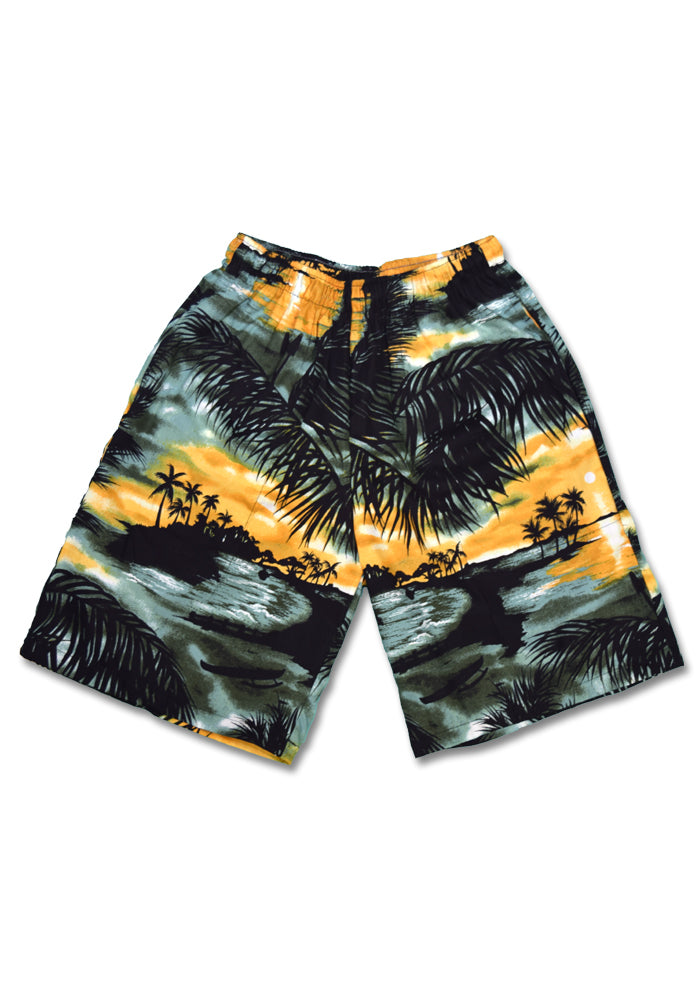 """Final Sale"" Sunset Palms Cabana Shorts, Green"