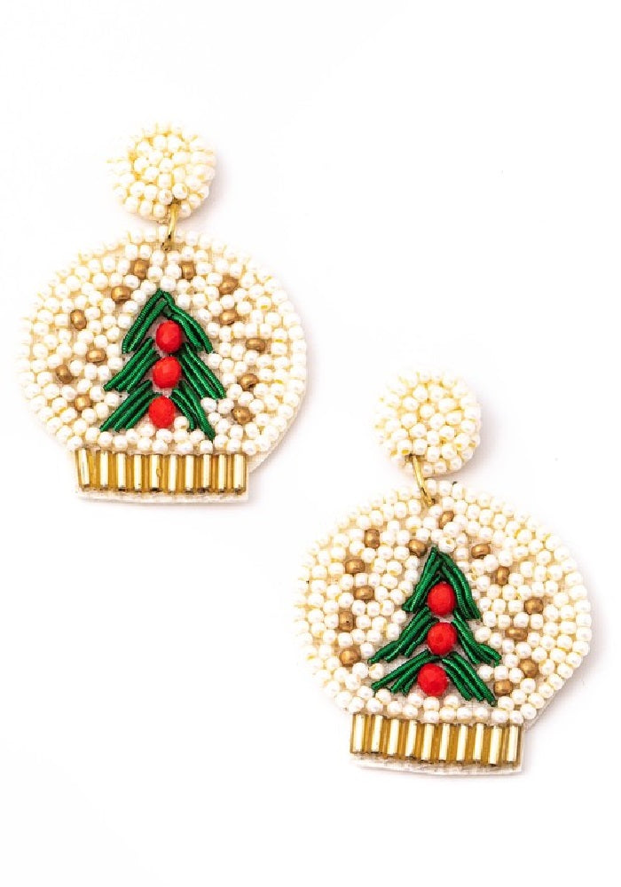 """Final Sale"" Beaded Snow Globe Earrings"