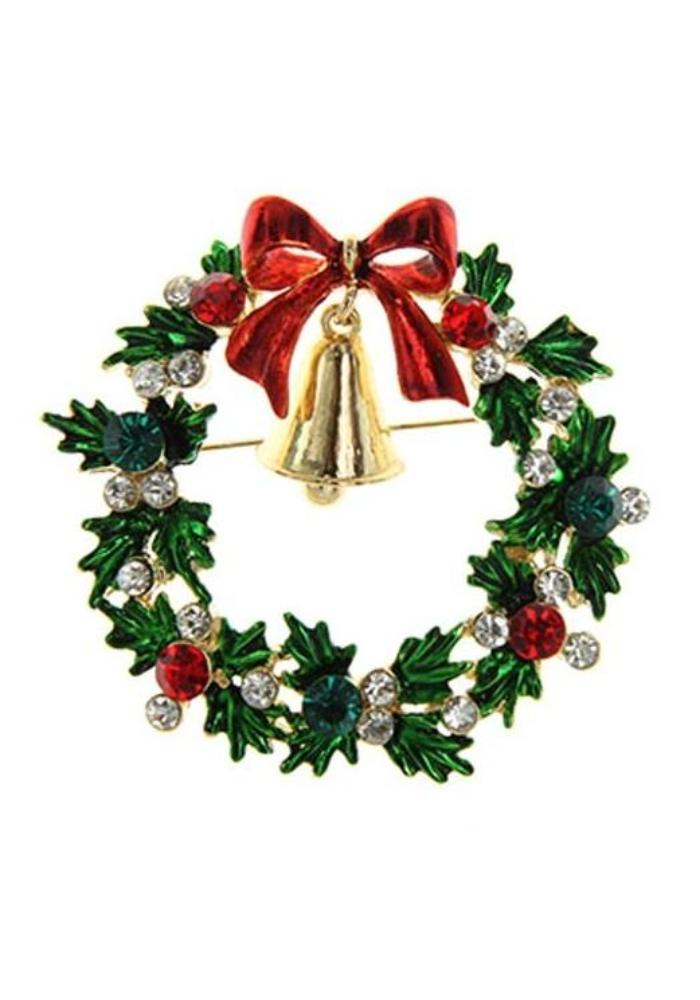 """Final Sale"" Large Christmas Wreath Rhinestone Brooch"