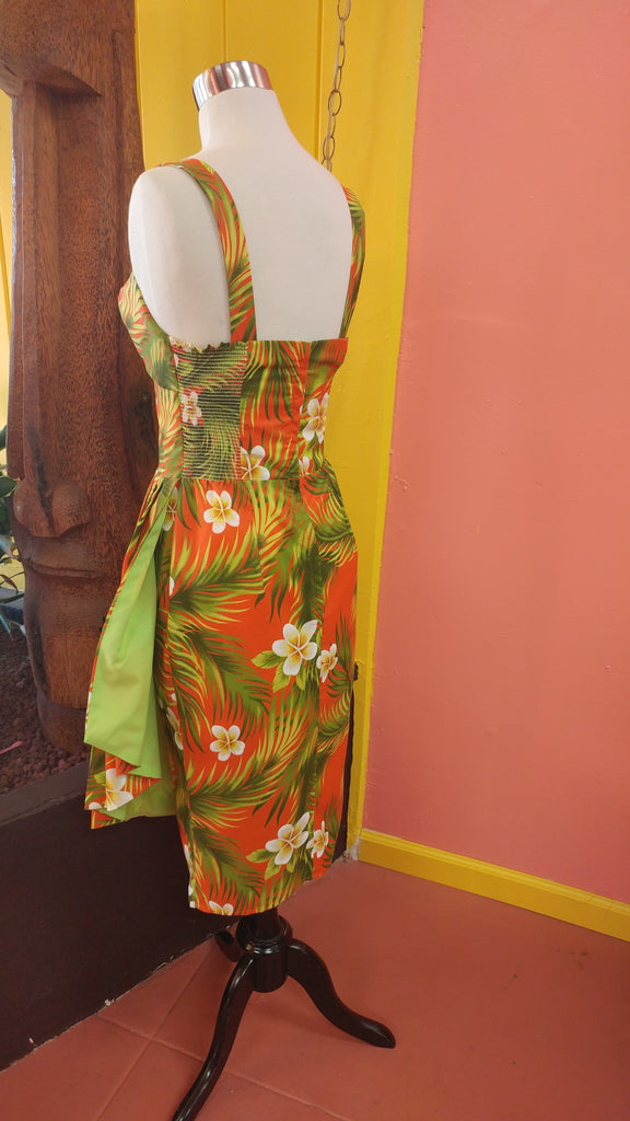 Plumeria Passion Sonia Sarong Dress in Orange