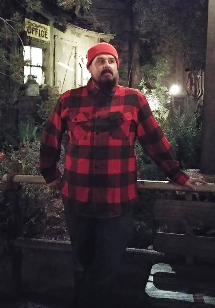 Men's Plaid Flannel Shirt in Classic Red