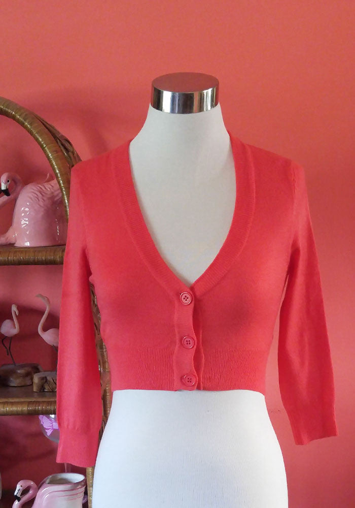 """Final Sale"" Clementine Cropped Cardigan, Fiesta Coral"