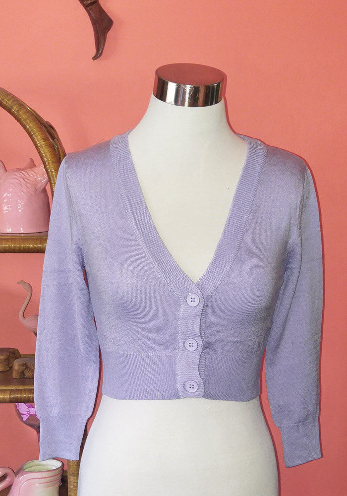 Clementine Cropped Cardigan, Lavender