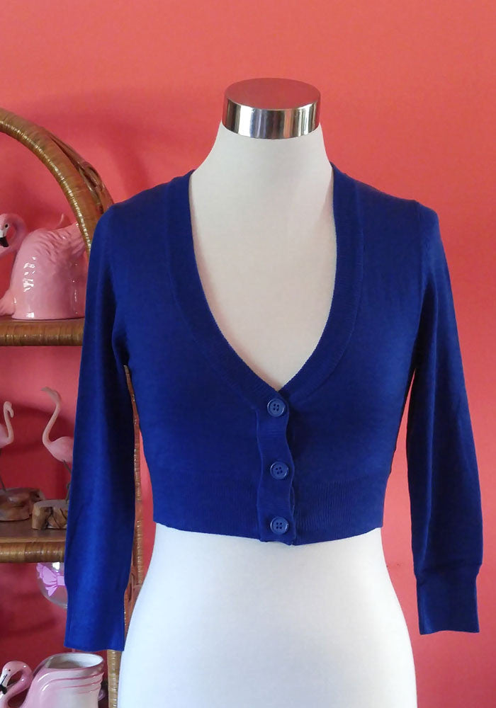 """Final Sale"" Clementine Cropped Cardigan, Royal Blue"