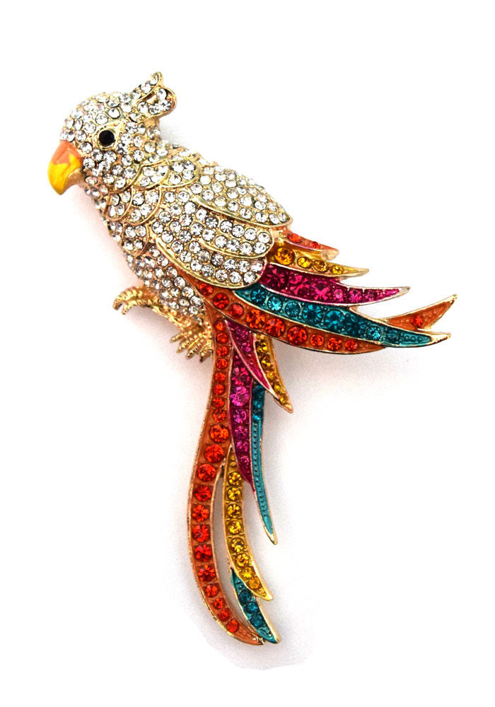 Large Rhinestone Tropical Tiki Bird Brooch
