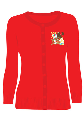 Delicious Park Treats Embroidered Pullover Sweater in Red