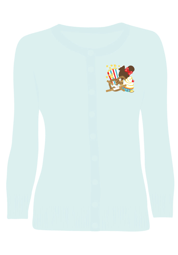 """Final Sale"" Delicious Park Treats Embroidered Cardigan in Sky Blue"