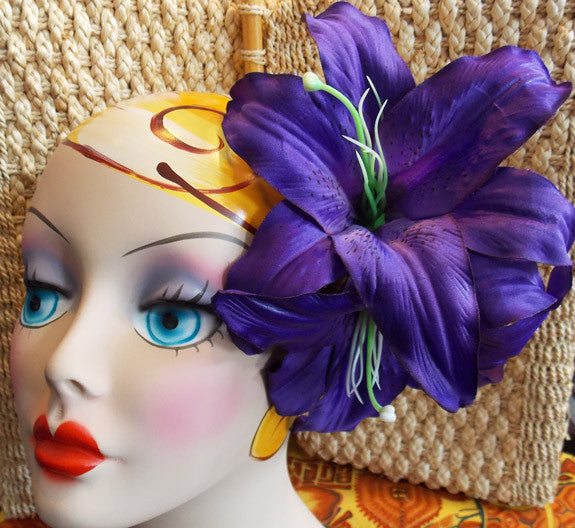 Jumbo Purple Tiger Lily Duet Hair Flower