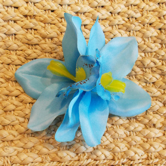 Aqua Blue Hawaiian Double Orchid Flower