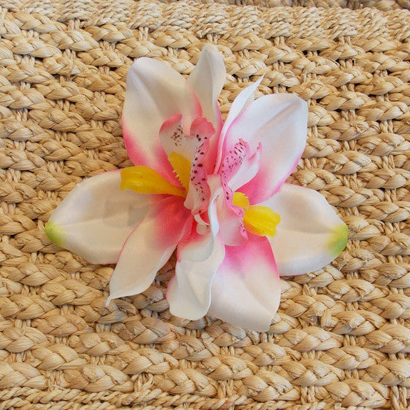 White & Pink Hawaiian Double Orchid Flower