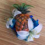 Tiger Lily Tiki Pineapple Carmen Miranda Fruit Hair Clip, White & Blue