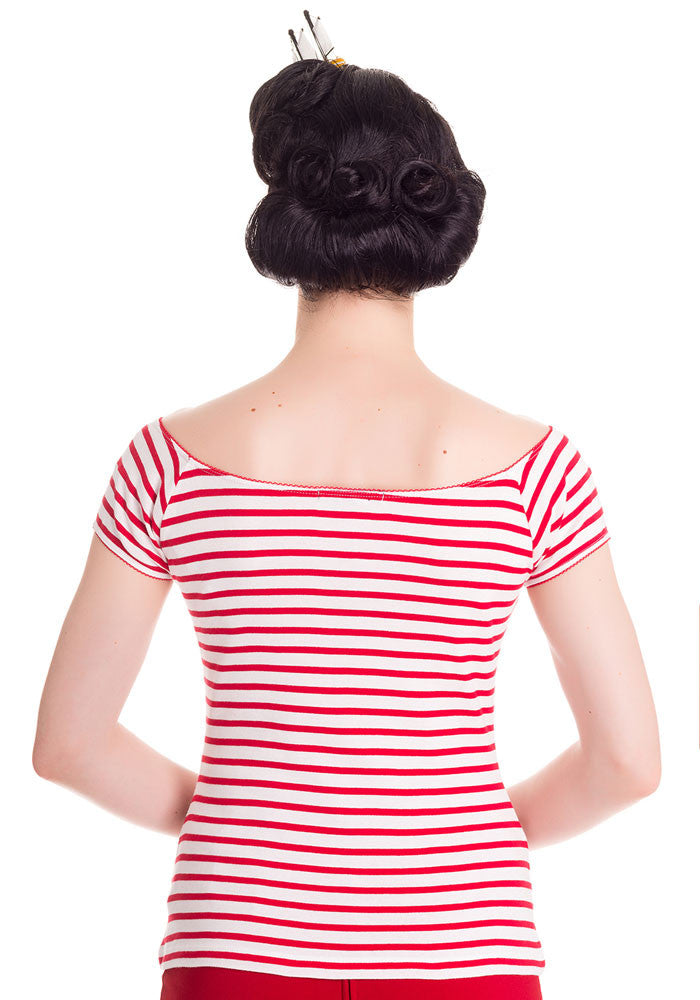 Dolly Striped Top in Red