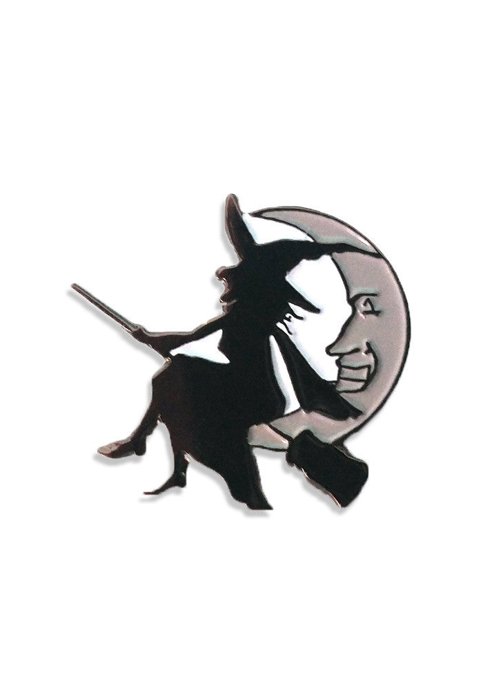 flying witch on broom stick halloween enamel pin