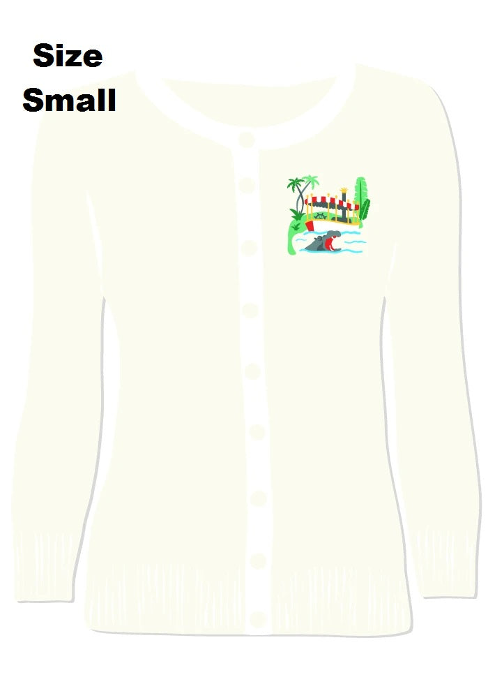 (FINAL SALE) BLEMISHED Adventure Cruise Embroidered Cardigan in White