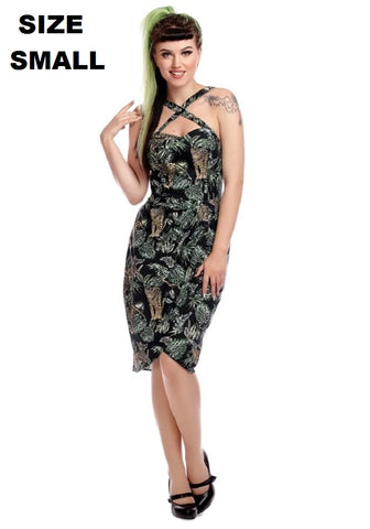 """Final Sale"" Palm Jungle Vacation Sarong Dress in Green"