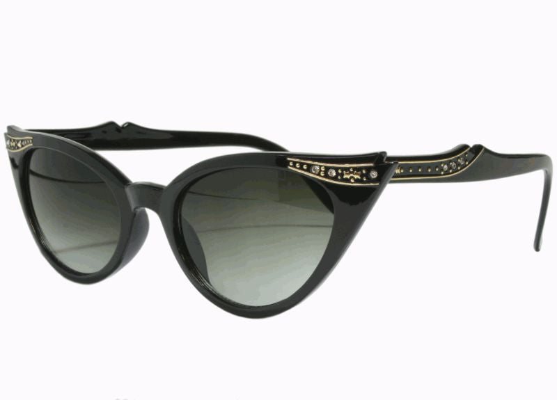 Fancy Vintage Inspired Cateye Sunglasses - Black